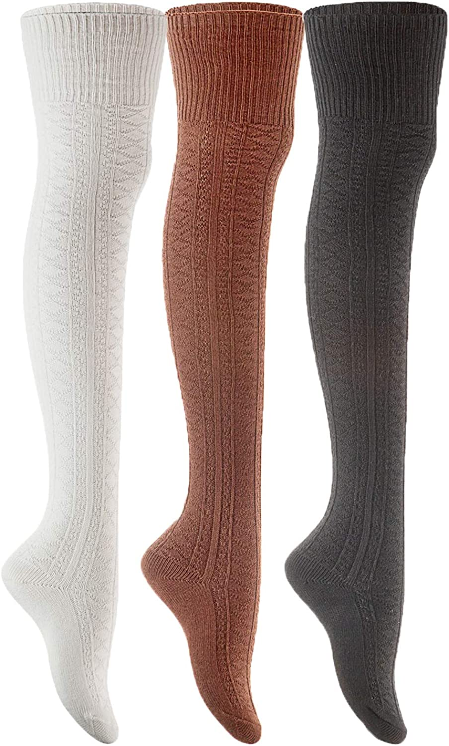 Lian LifeStyle Women's 3 Pairs Adorable Thigh High Cotton Socks Size 6-9 LLS1025