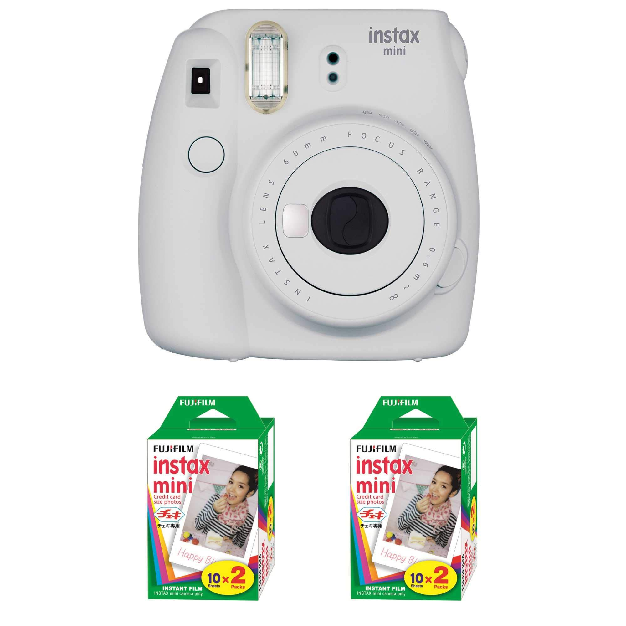 Fujifilm Instax Mini 9 Instant Camera (Smokey White) with 2 x Instant Twin Film Pack (40 Exposures) by Fujifilm