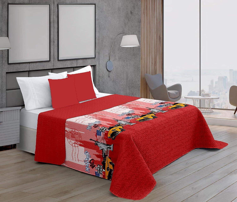 Rojo 2 180x260 cm ForenTex Colchas Newyork Cama 90 Reversible Termo Estampadas Verano rimavera con Funda Cojines
