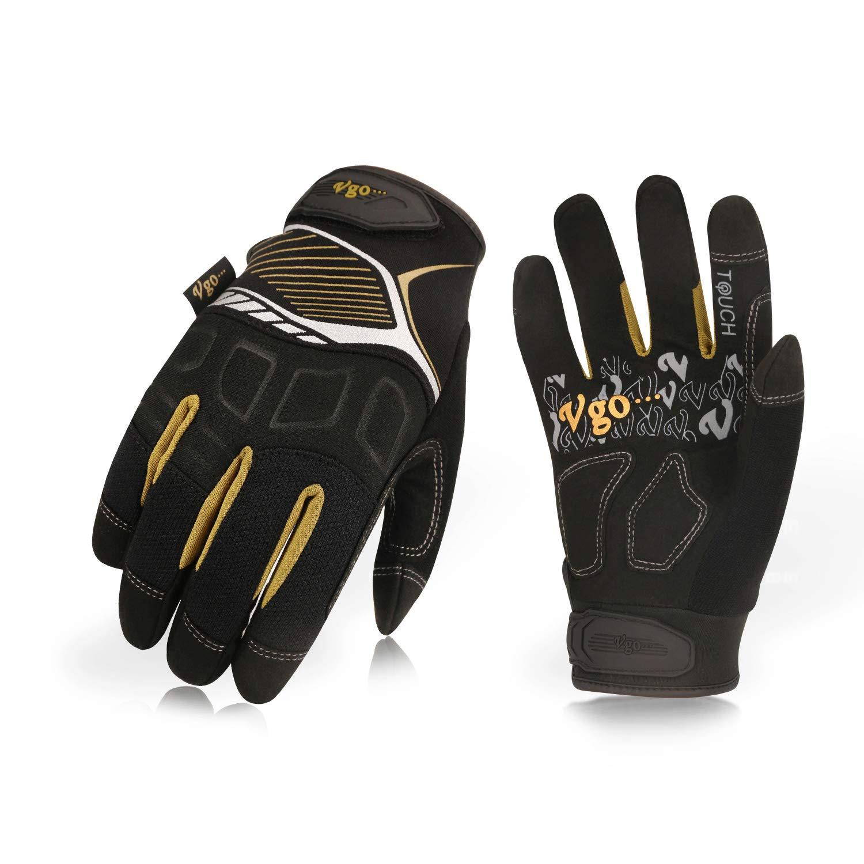 1Pair,Orange,Size XL,GA8954 Vgo High Dexterity Water Repellent Goat Leather Heavy Duty Mechanic Glove,Rigger Glove,Anti-vibration,Anti-abrasion,Touchscreen