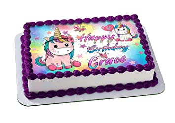 EdibleInkArt Pony Unicorn Edible Cake Topper Personalized Birthday 1 4 Sheet Decoration Custom Party