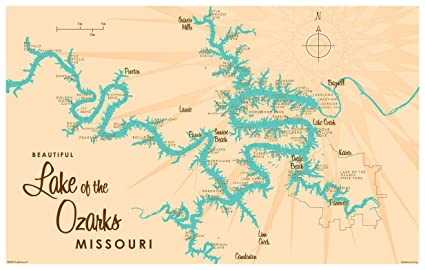 Amazon Com Lake Of The Ozarks Missouri Map Vintage Style Art Print