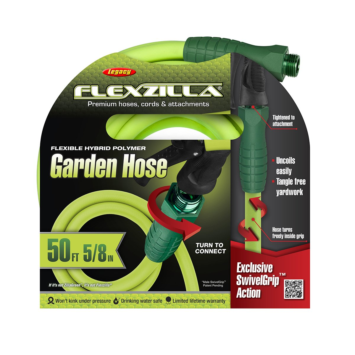 Amazon.com : Flexzilla Garden Hose With SwivelGrip, 5/8 In. X 50 Ft, Heavy  Duty, Lightweight, Drinking Water Safe   HFZG550YWS : Garden U0026 Outdoor