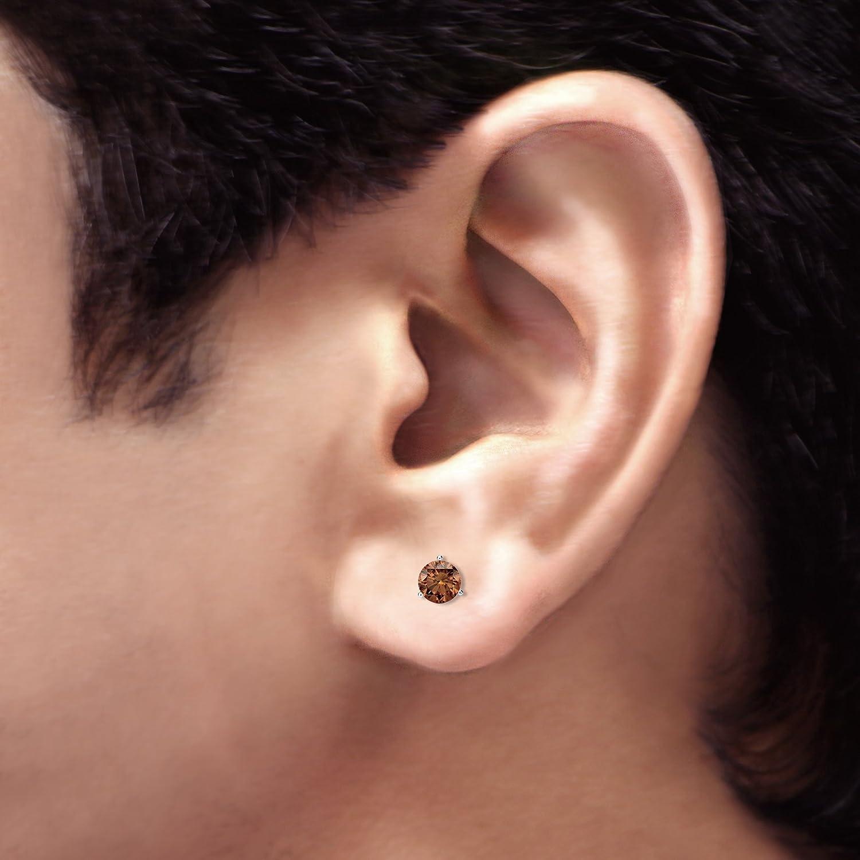 1//8-1ct,Brown,SI2-I1 18k White Gold 3-Prong Martini Round Brown Diamond Men SINGLE STUD Earring ScrewBack