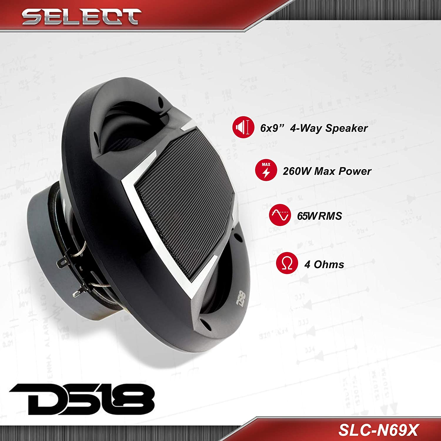 DS18 SLC-N69X Coaxial Speaker Removable Cover Included 65W RMS Midrange and Tweeters in one 4-Way Speaker 6x9 260W Max Power Woofer SELECT Speakers Provide Undiscovered Value 2 Speakers