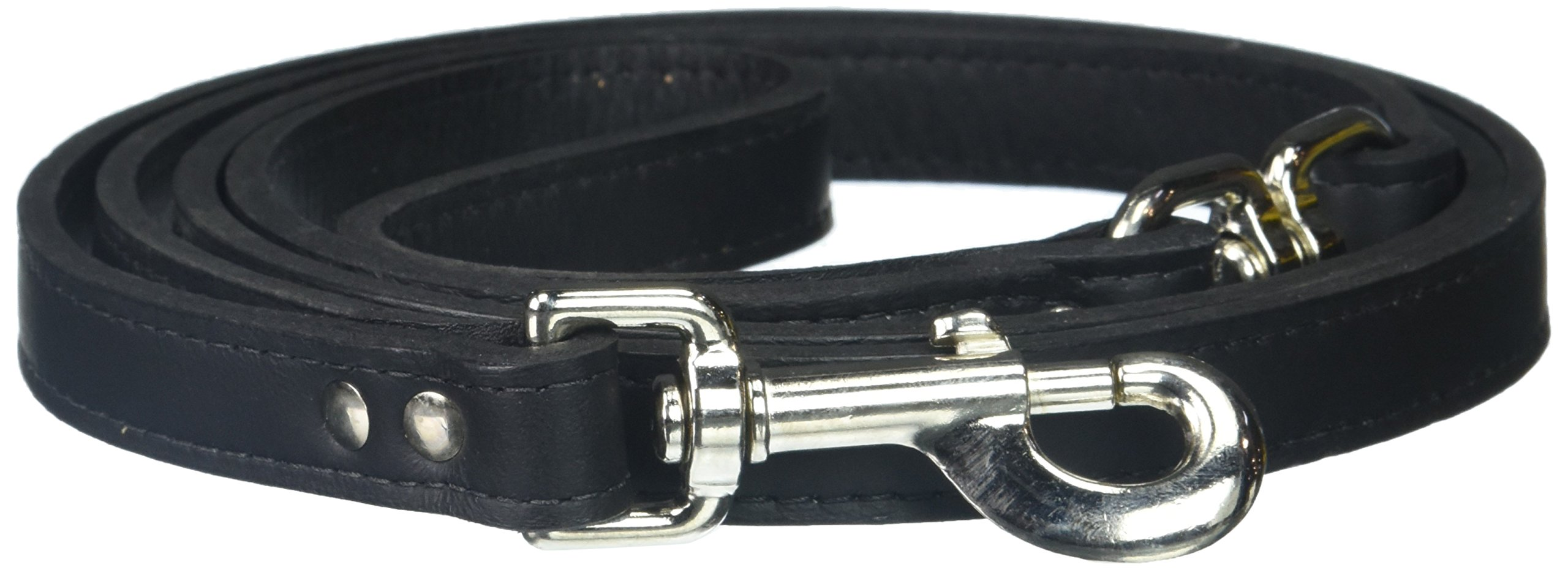 OmniPet Signature Leather Dog Lead with a Swivel, 3/4 x 6', Black