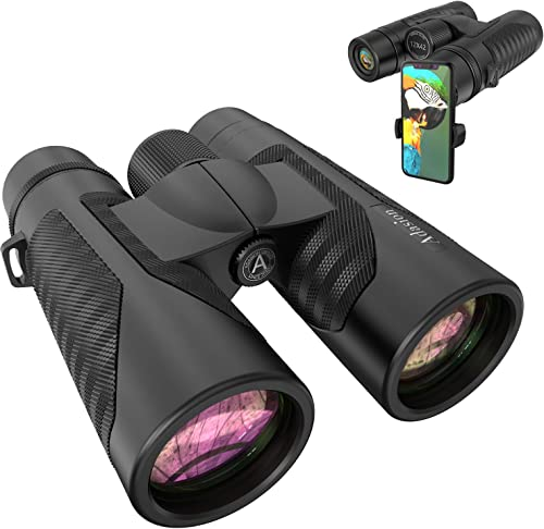 12×42 Binoculars for Adults with New Smartphone Photograph Adapter – 18mm Large View Eyepiece – 16.5mm Super Bright BAK4 Prism FMC Lens – Binoculars for Birds Watching Hunting – Waterproof 1.25 lbs
