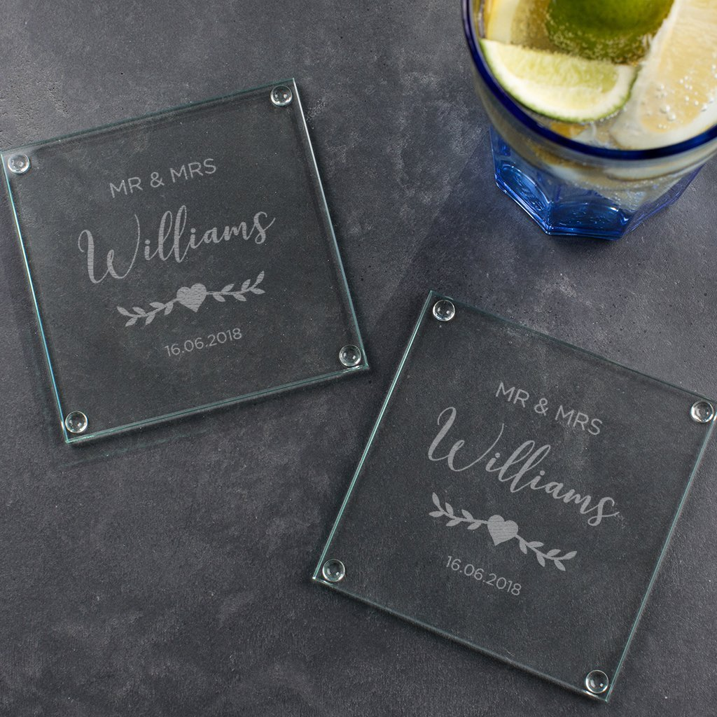Personalized Glass Coaster Set Mr and Mrs Congratulations Gifts Personalized Wedding Gift Coasters Personalized Wedding Gift for Bride and Groom Engraved Anniversary Gifts for Couples