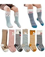 6 Pairs Unisex Animal Baby Girls Boys Socks Knee High Stockings Anti Skid Socks
