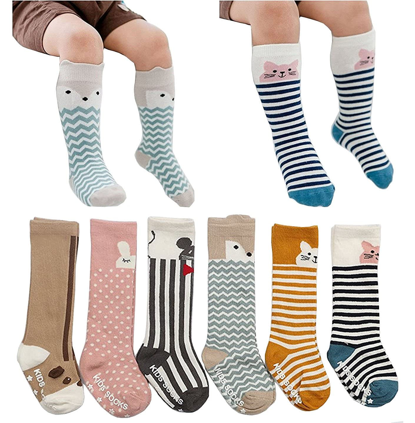 6 Pairs Toddler Socks, Kids Non Skid Knee High Cotton Socks for Baby Boys Girls