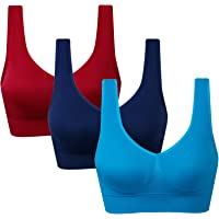 Vermilion Bird Women's 3 Pack Seamless Comfortable Sports Bra with Removable Pads