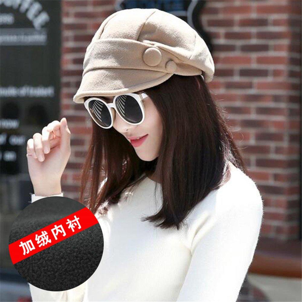 Cálido invierno sombrero de moda femenina pequeña tapa de ocio a lo largo de la pila de tapar todas-match pintor boina octogonal,tramo libre,beige