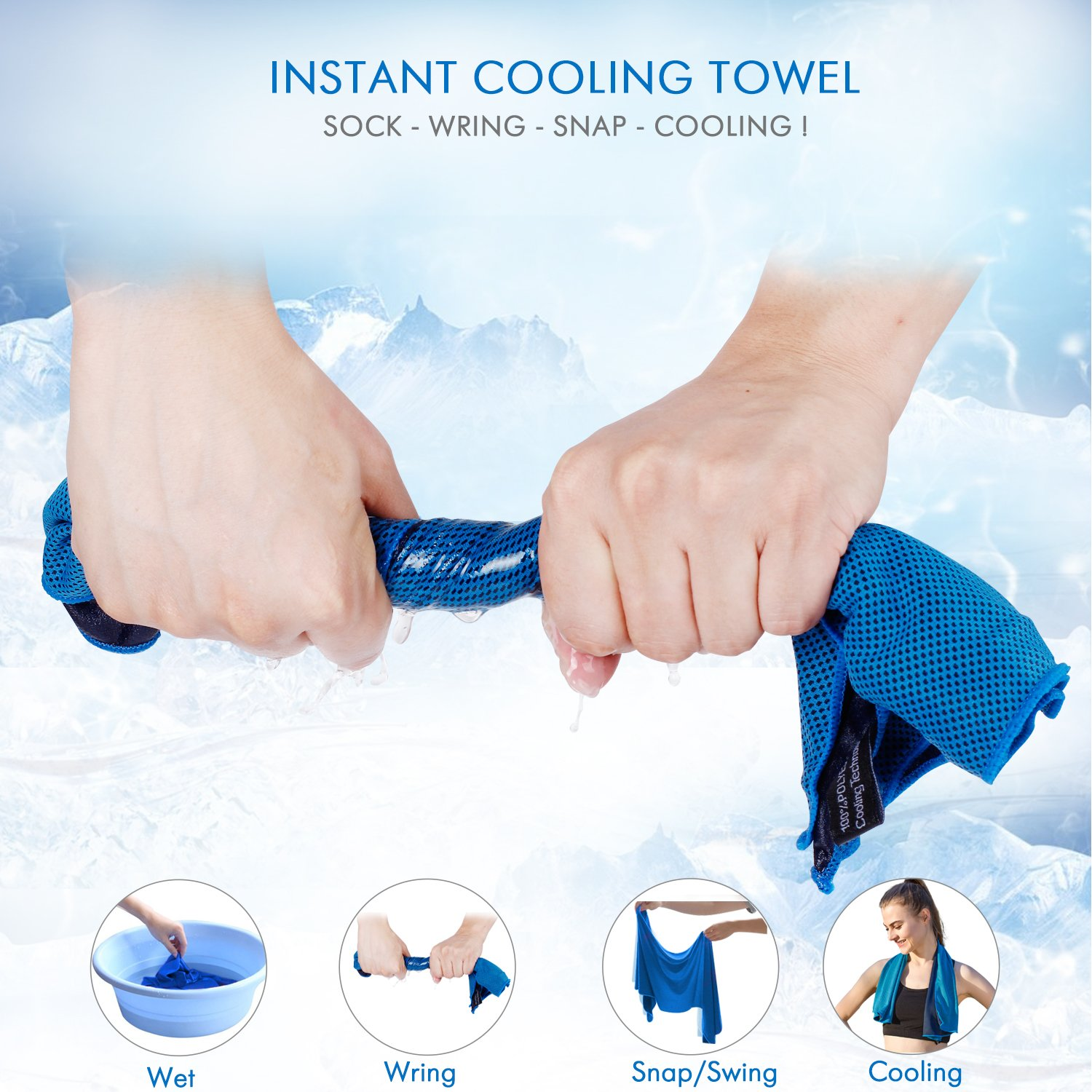 Evaporative Cooling Towel for Runners, Joggers, Athletes, Golfer, Workers, Farmer and Gardener Blue 16x40 Inch