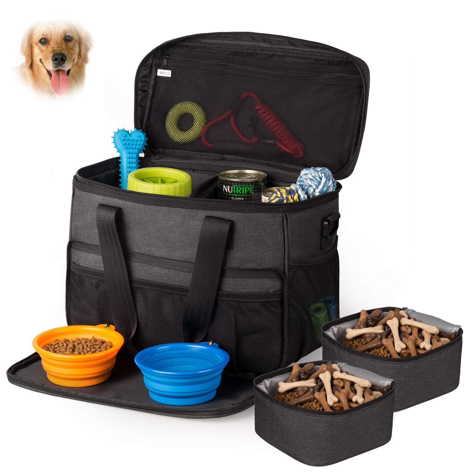 Hilike Pet Travel Bag for Dog&Cat -Weekend Tote Organizer Bag for Dogs Travel -Incudes1 Dog Tote Bag,2 Dog Food Carriers Bag,2 Pet Silicone Collapsible Bowls.(Black) by Unicreate