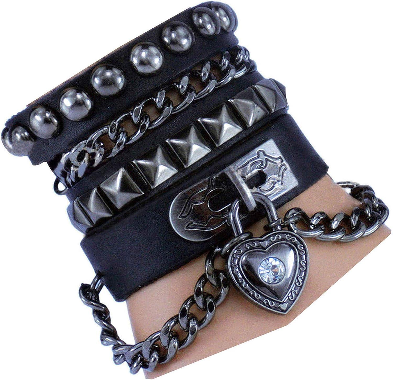 Y-blue Multilayer Bracelet Fashion Punk Leather Woven Braided Cross Bangle Wrist Cuff Wristband (Black): Jewelry
