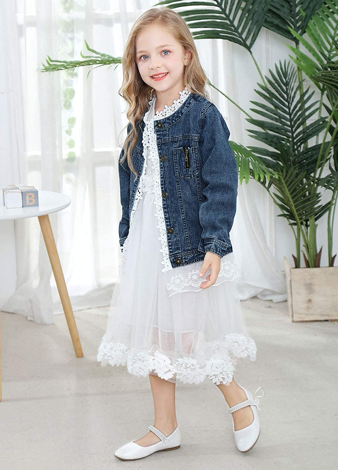 ZFSOCK Kids Girls Denim Jacket with Lace Toddler Jeans Jackets Coat Fashion Cowboy Outwear Spring Autumn Overcoat Birthday Gift Idea Age 2-10 Years