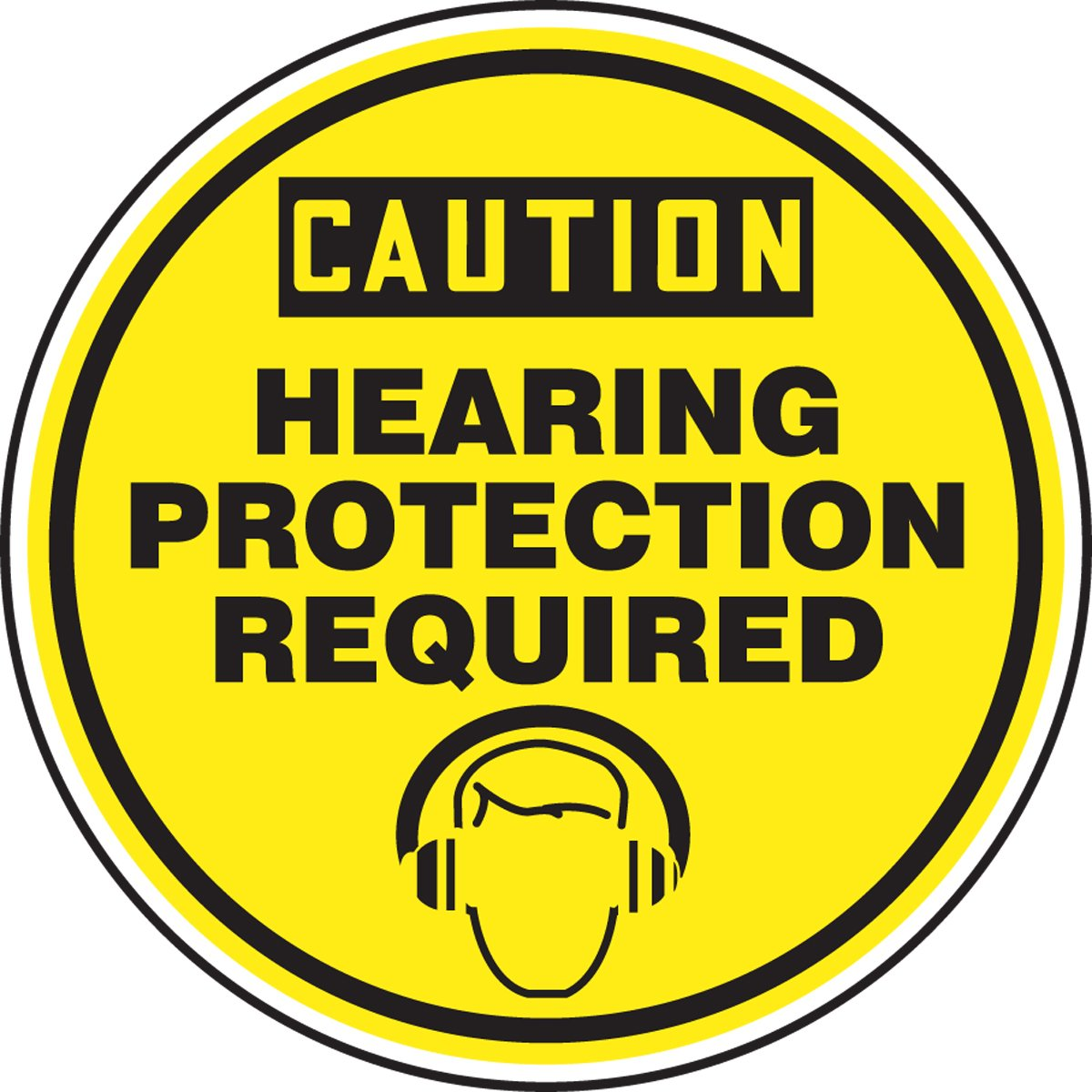 Accuform Caution Hearing Protection Required Wgraphic Mshp695vp
