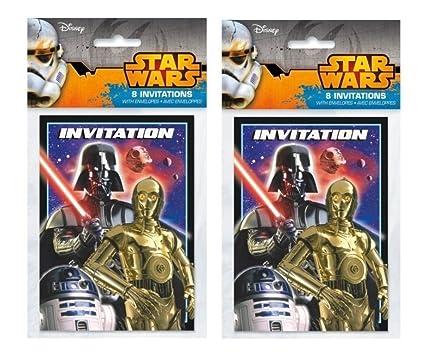 Amazon.com: Star Wars Fiesta de cumpleaños Invitaciones para ...