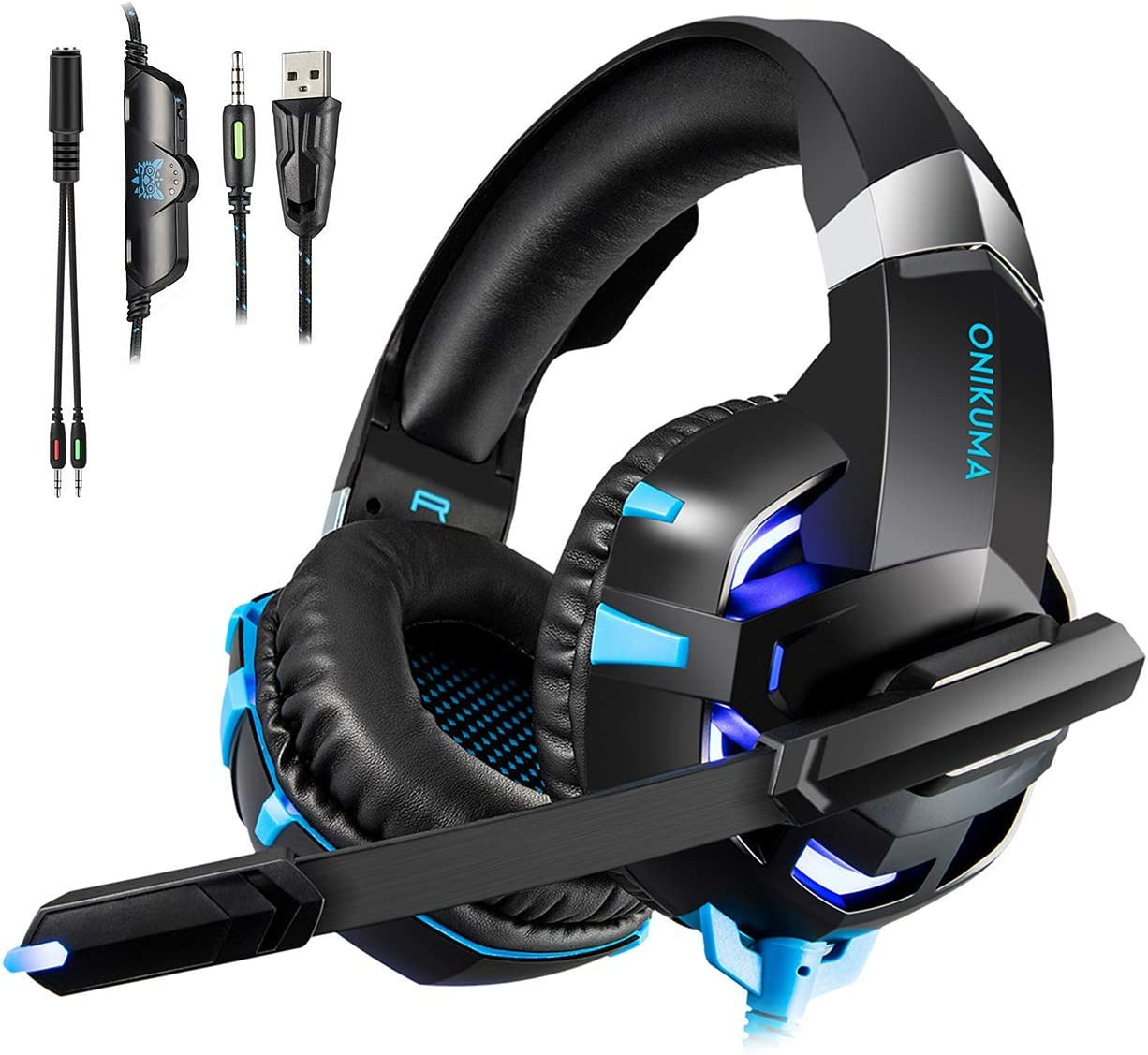 Gaming Headset for PS4 New Xbox one PC Mac Laptop, Professional 3.5mm Over Ear Headphones, Stereo USB Headset with LED Light and Noise canceling Mic for Games by Runying (Blue)
