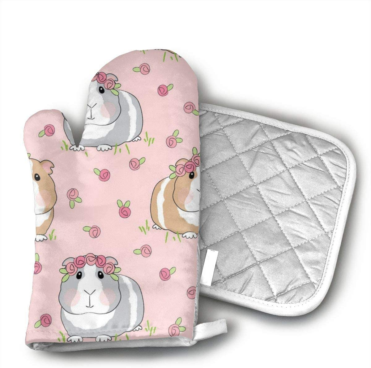 Teuwia Guinea Pigs and Roses Oven Mitts and Pot Holders Baking Oven Gloves Hot Pads Set Heat Resistant for Finger Hand Wrist Protection