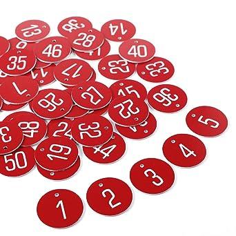 50pcs Etiqueta Roja Plástica Grabado Números Identificador para Llaves Armarios para llaves Cajones Gimnasio Oficina SIN LLAVERO