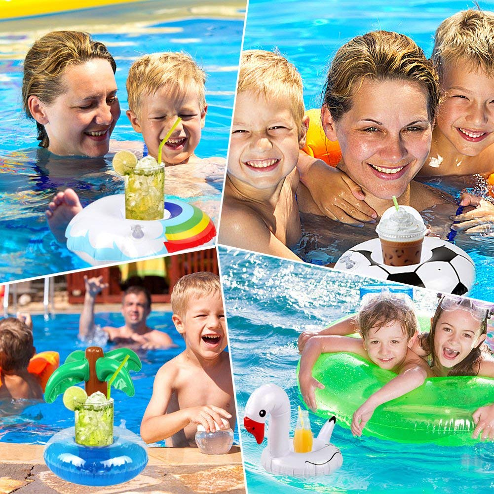 GetLoveProduct 18 Packs Inflatable Drink Holders Drink Floats Inflatable Cup Coasters for Pool Party