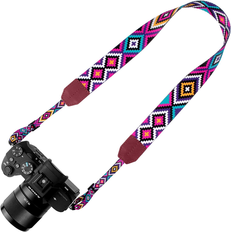 Aztec Sunset Pawia Aztec Camera Strap Universal DSLR SLR Compatible Neck Shoulder Vintage Belt for Canon Nikon Pentax Sony Fujifilm Olympus