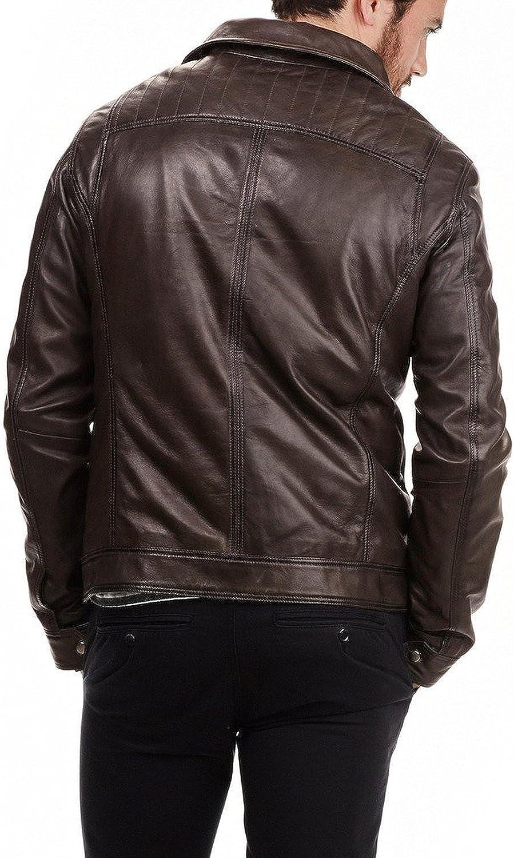 New Mens Leather Jacket Slim Fit Biker Motorcycle Genuine Leather Coat X480