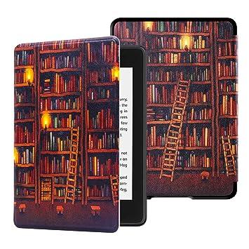 Huasiru Gemälde Hülle Schutzhülle Kindle Paperwhite (10. Generation, 2018 Veröffentlicht) Case Cover, Bibliothek