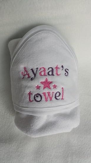 Personalizado infantile bebé niño y una niña Albornoz de toalla con capucha Guante de servicio Belle