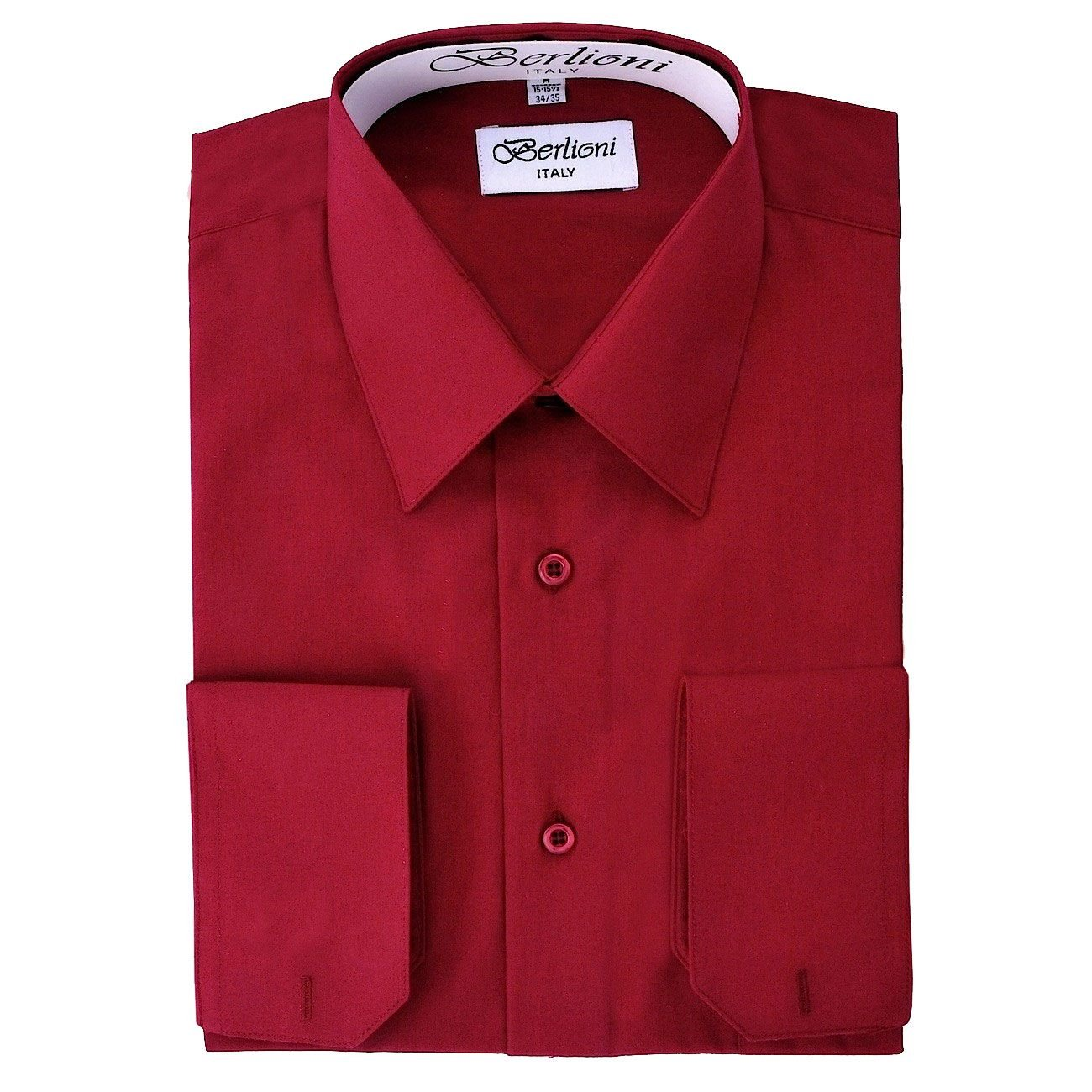Mens Burgundy Solid Dress Shirt