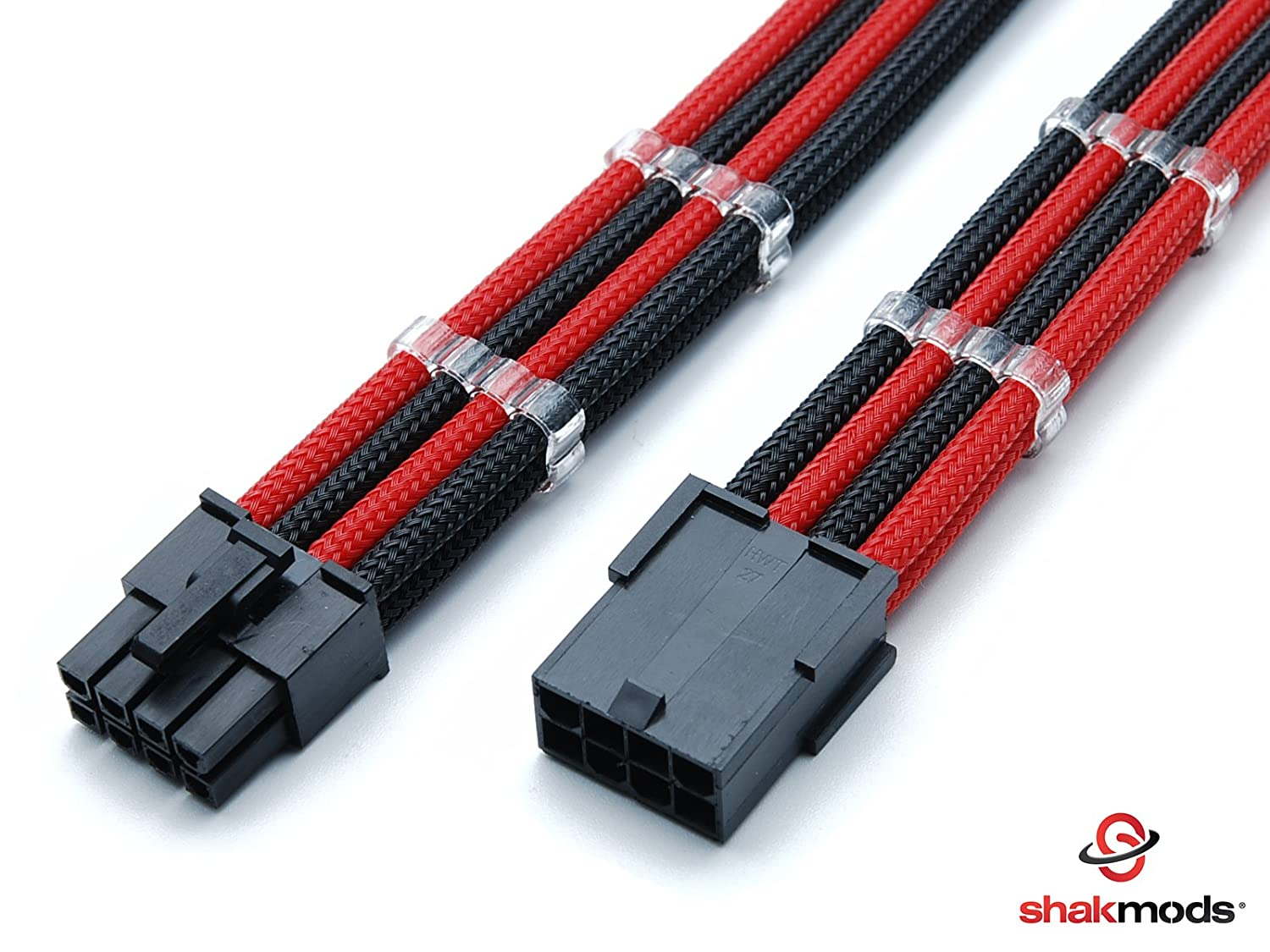 Shakmods 8 Pin ATX CPU Motherboard Black & Red Heatshrinkless Sleeved Extension Cable with 2 Free Cable Combs 30cm 1704
