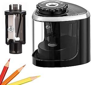 Pencil Sharpener Electric Pencil Sharpeners, Portable Pencil Sharpener Kids, Blade to Fast Sharpen, Suitable for No.2/Colored Pencils(6-8mm)/School Pencil Sharpener/Classroom/Office/Home (Black)