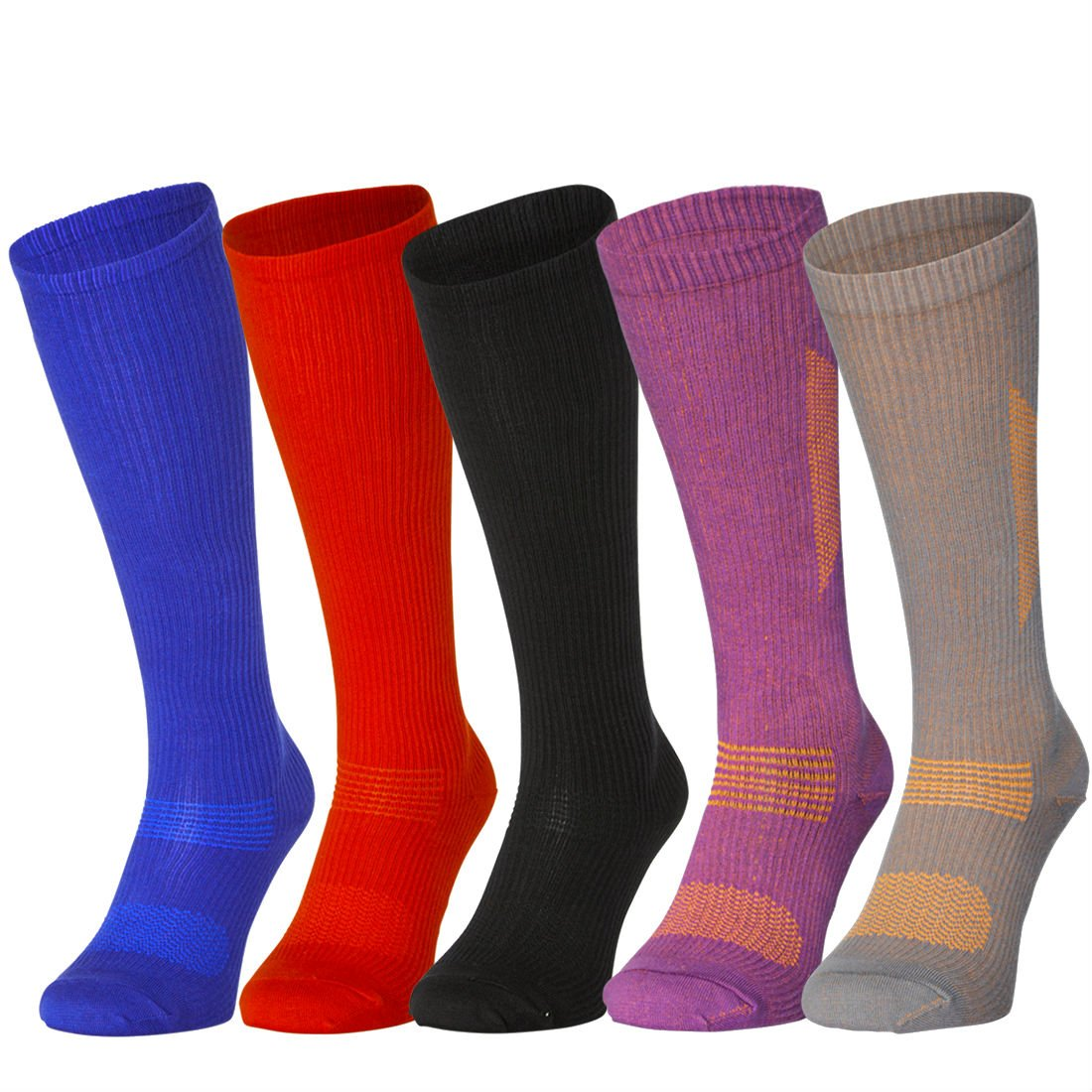 Organic Graduated Compression Socks (1 Pair Grey/Orange, US Women 8-10 // US Men 6.5-8.5)