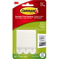Command Picture Hanging Strips, Medium, White, 3-Strips (17201-ES)