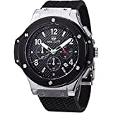 megir Herren Design Zifferblatt Chronograph Militär Auto Datum Quarz Sport Silikon Armbanduhr