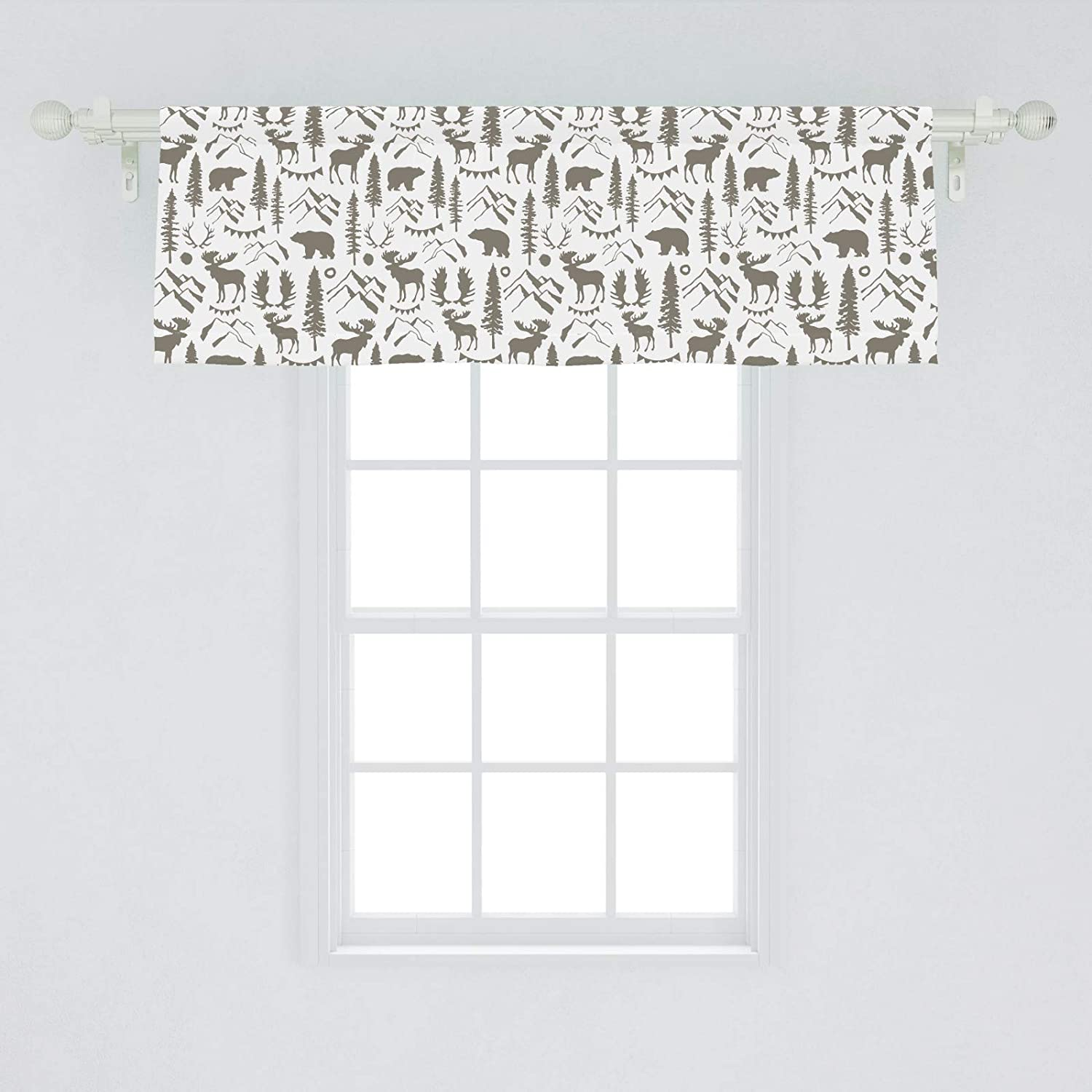 "Ambesonne Northwoods Window Valance, Forest Elements with Bear Moose Trees and Mountains Wildlife Nature Theme, Curtain Valance for Kitchen Bedroom Decor with Rod Pocket, 54"" X 18"", Taupe White"