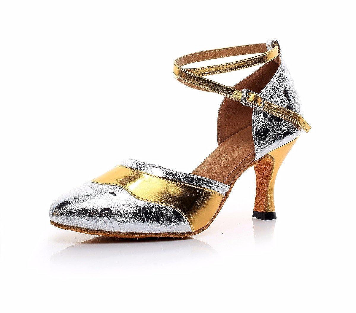 L'or JINGXINSTORELes chaussures de danse salsa latine Muster Serpent intérieur professionnel sandales 34 EU