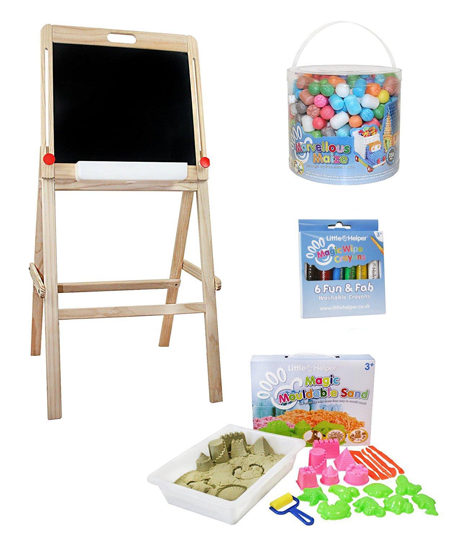 Little Helper FPT01-15 - Mesa de juegos (3 en 1, con caja de arena y pizarra giratoria), color beige y naranja