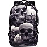 6c4594fbad53 HANRUI Personalized 3D Skull Studded Casual Travel Laptop Backpack School  Bookbags