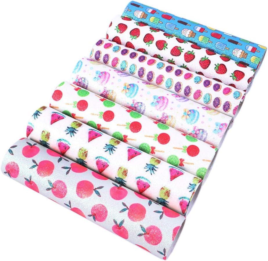 David Angie Fine Glitter Fruit Food Printed Faux Leather Fabric Sheet 7 Pcs 8