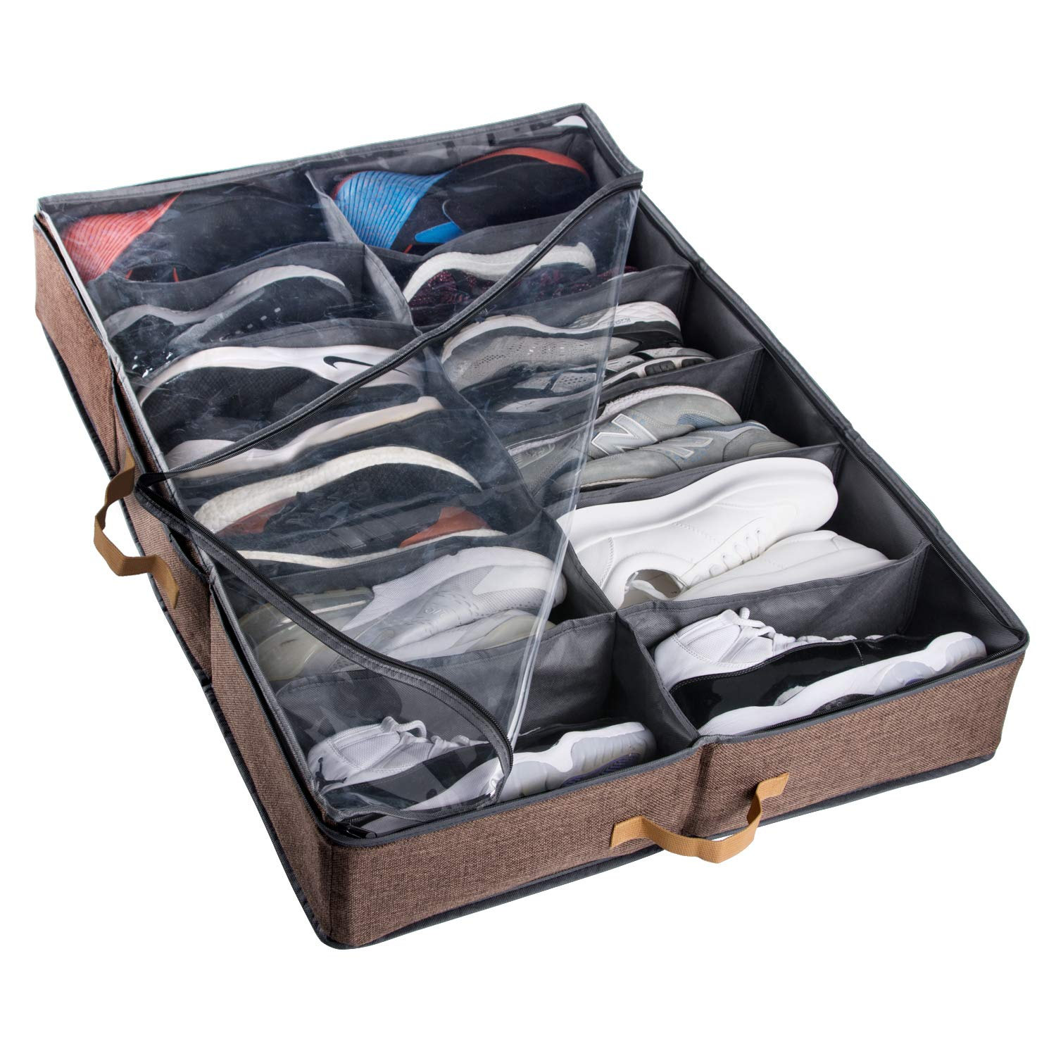 ACMETOP Extra-Large Under Bed Shoe Storage Organizer, Built-in Structure & Durable Materials, Underbed Storage Solution for Men's Size 13 Sneaker & Women's 6'' High-Heels (12 Cell, Brown) by ACMETOP