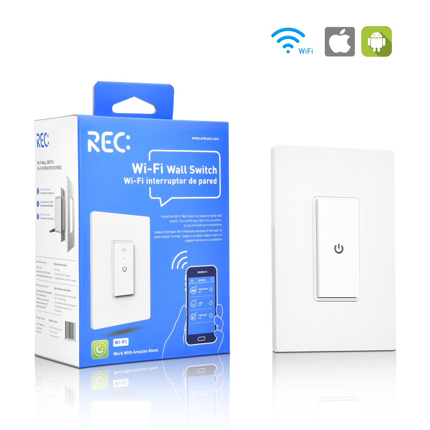 WiFi Smart Light Switch Work Alexa Echo, Smartphone Remote Control Wireless Switch from Ankuoo, No Hub Required,Timer, Automatic APP Control, for Home/Office/Living Room