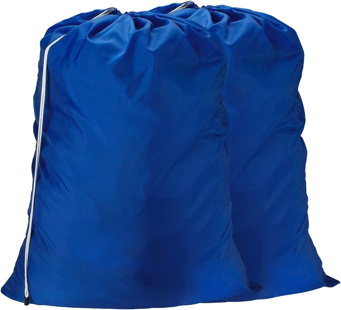 Nylon Laundry Bag - Locking Drawstring Closure and Machine Washable. These Large Bags will Fit a Laundry Basket or Hamper and Strong Enough to Carry up to Three Loads of Clothes. (Royal Blue | 2-PACK)