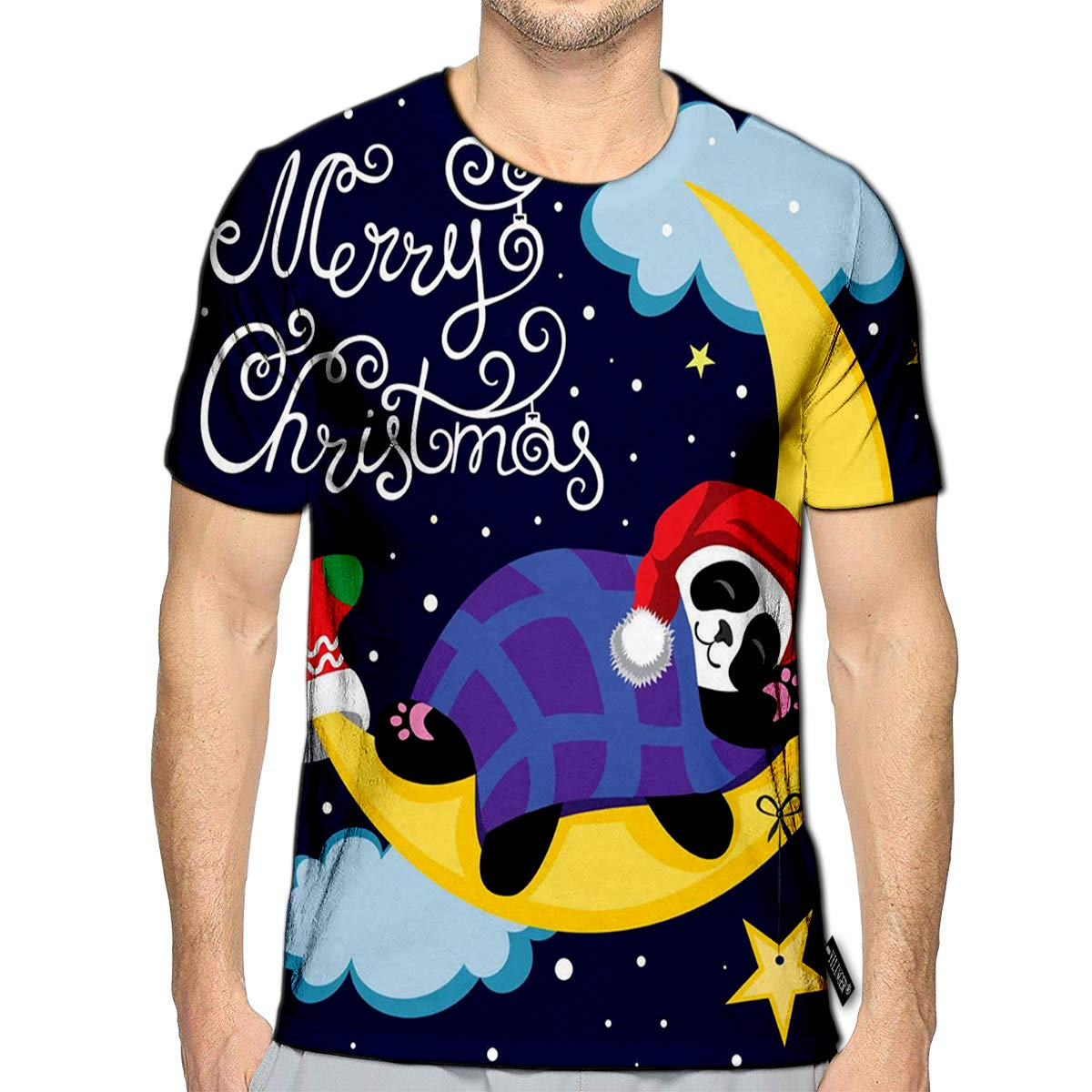 3D Printed T-Shirts Panda Sleeps On The Moon is in Starry Sky of Cartoon Calligraphy Short Sleeve Tops Tees