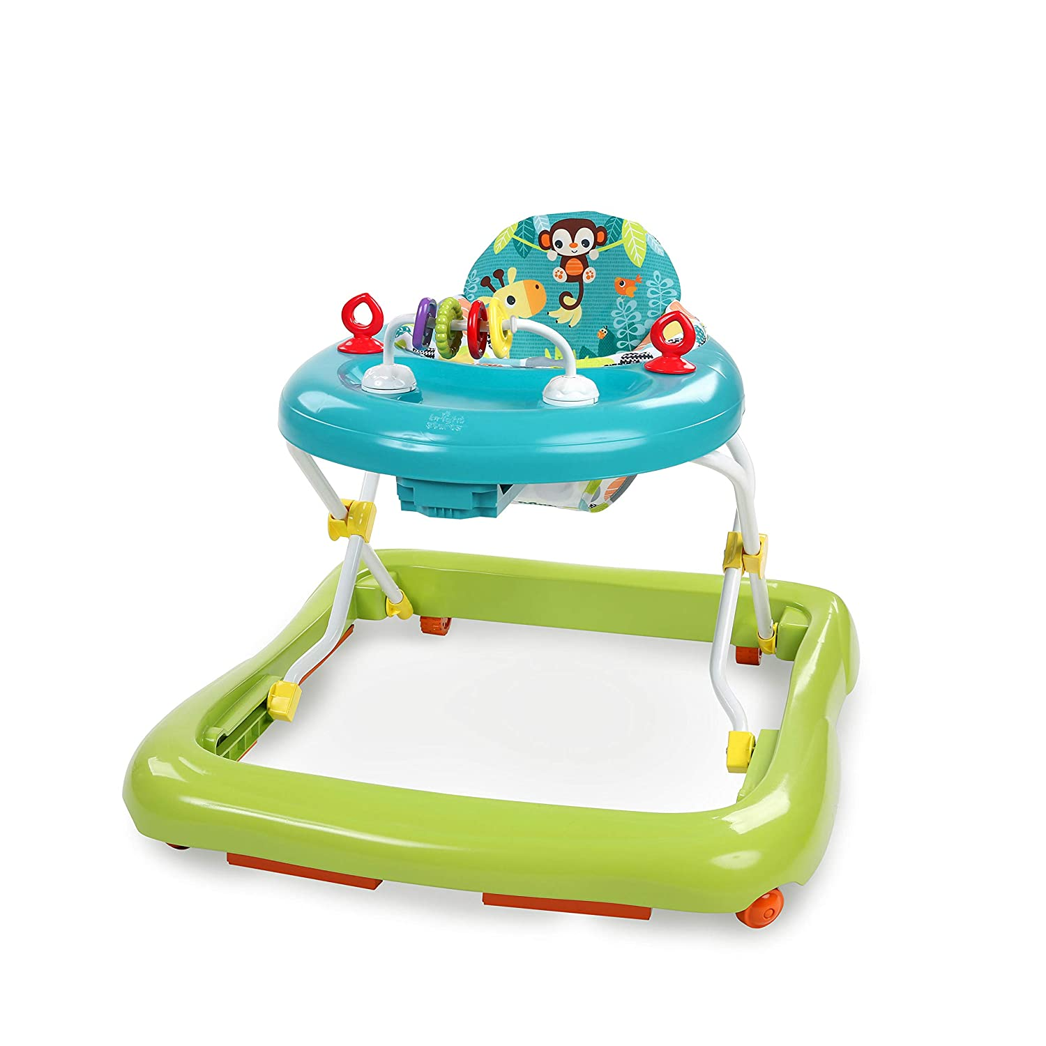 Bright Starts Giggling Safari Walker with Easy Fold Frame for Storage, Ages 6 Months +