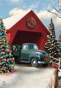 "Briarwood Lane Snow Covered Bridge Christmas Garden Flag Pickup Truck Lights 12.5"" x 18"""