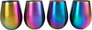 Rainbow Stainless Steel Stemless Wine Glasses, 16oz - Set of 4, Unicorn Cups are durable & Unbreakable for Indoor and Outdoor Party use - BPA Free