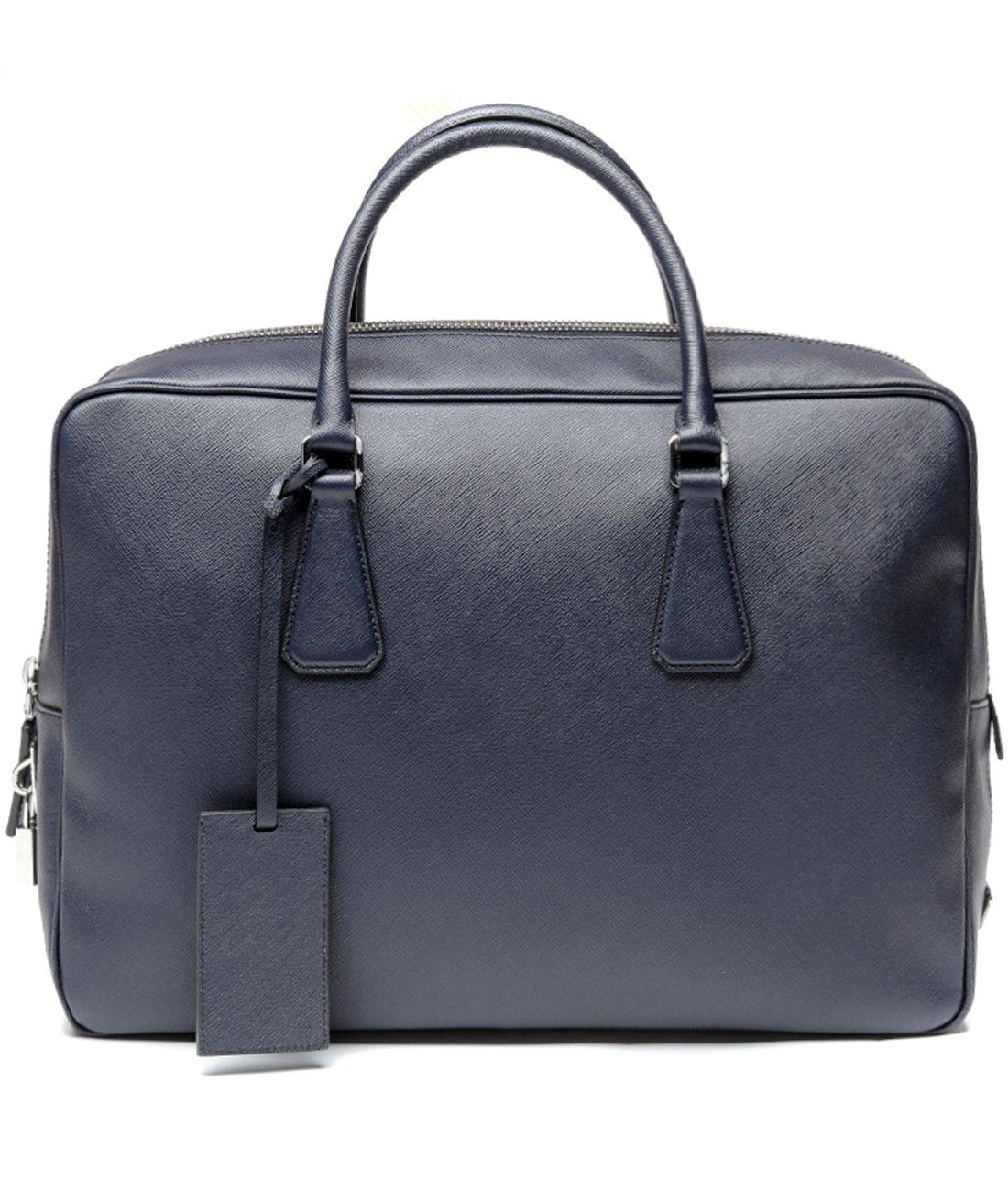 Prada Women's Top Zip Real Leather Handbag One Size Navy