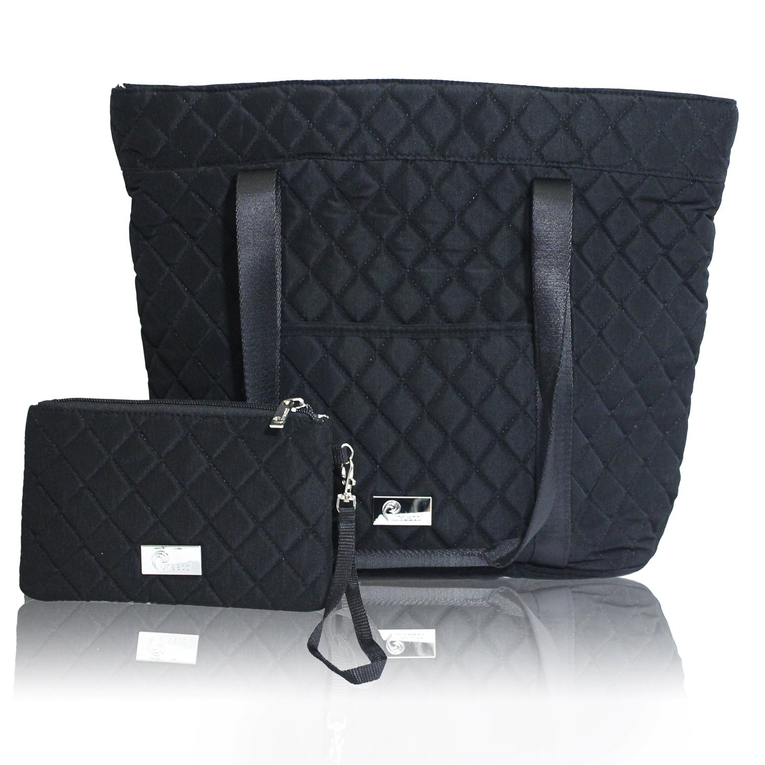 Amazon.com: Pursetti Black Quilted Tote Bag for Women w/ Bonus ... : quilted tote bag - Adamdwight.com